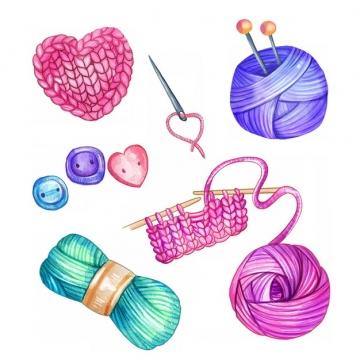 针织装饰毛线球织毛衣水彩插画169102png图片素材