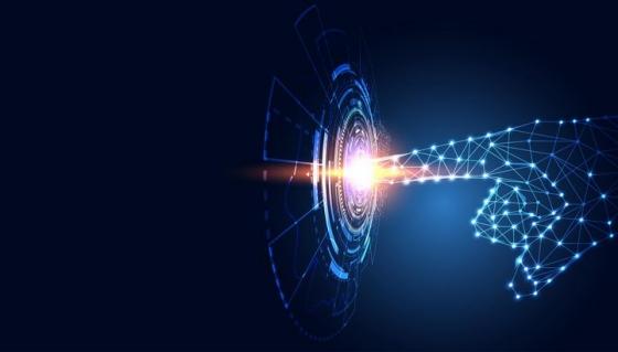 超酷的科幻特效点线组成的手指按一个科幻风格的按钮免抠矢量图片素材