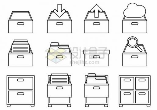 12款线条抽屉文件柜文件夹图标png图片素材189547