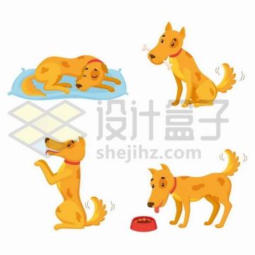 可爱的大黄狗正在睡觉玩耍png图片免抠矢量素材