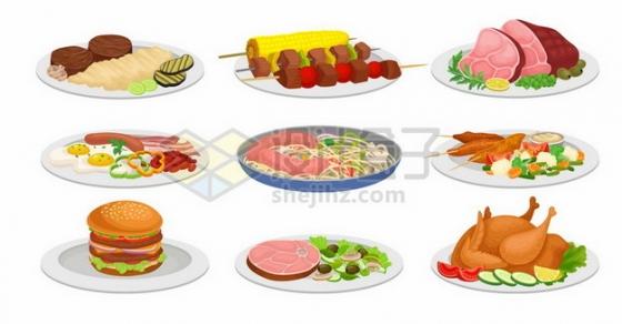 9种烤串烤肉猪肘子汉堡意大利面烤鸡等美味美食943058免抠矢量图片素材