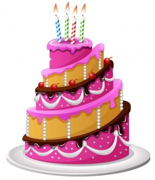 玫红色的多层生日蛋糕图片免抠素材