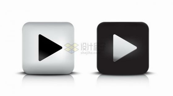 银色和黑色圆角正方形播放按钮png图片素材
