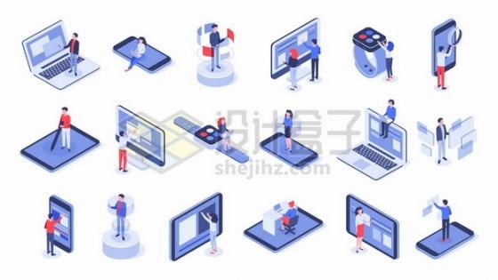 各种卡通商务人士和笔记本电脑手机平板电脑智能手表等智能办公时代665551免抠矢量图片素材