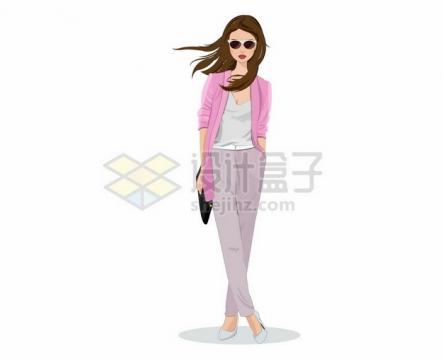粉色上衣的时髦女人213581png矢量图片素材