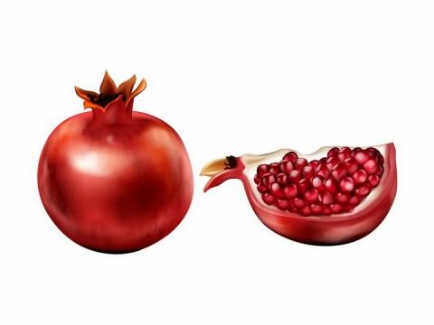 彩绘风格石榴和剥开一半的石榴美味水果png图片免抠矢量素材