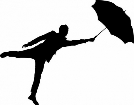 被伞带风的年轻人剪影图片png免抠素材