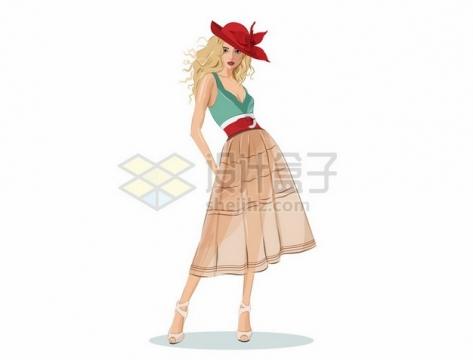 戴着红色帽子的裙子美女309203png矢量图片素材