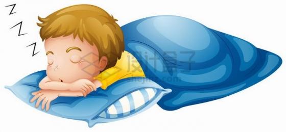 趴着睡觉的卡通小男孩png图片免抠矢量素材