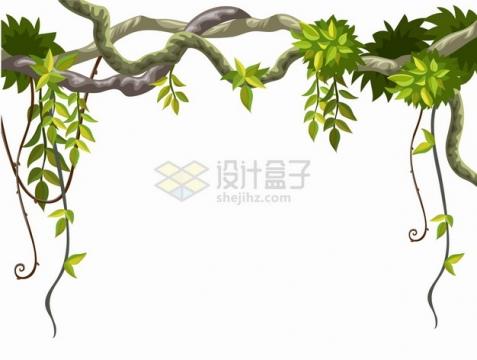 卡通热带雨林树枝和藤蔓装饰png图片素材