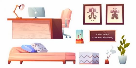 卡通风格办公桌电脑桌沙发等办公室用品png图片免抠矢量素材