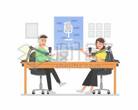 两个电台主持人扁平插画999081png矢量图片素材