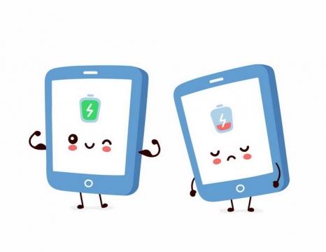 卡通手机电池有电和没电的表情png图片免抠矢量素材