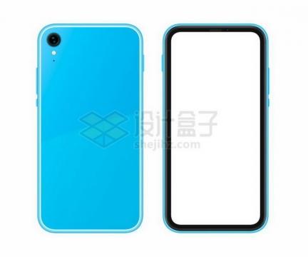 蓝色单摄像头的智能手机正反面png图片免抠矢量素材