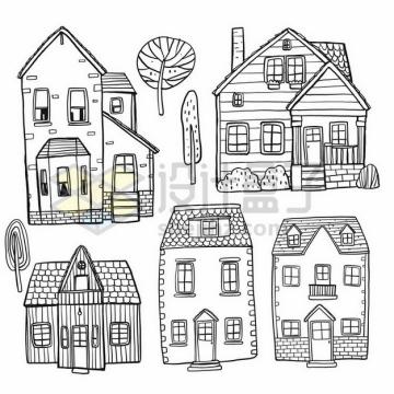 5款乡村小楼房手绘素描简笔画png图片素材