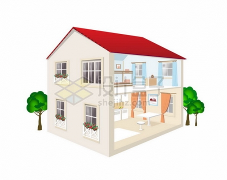两层楼房别墅内部结构图354849png矢量图片素材