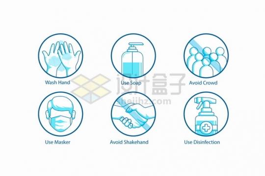 洗手消毒液戴口罩禁止人群聚集禁止握手等蓝色标志png图片素材