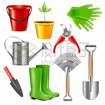 水桶花盆橡胶手套浇水壶修剪器雨靴铲子等园林工具png图片免抠矢量素材