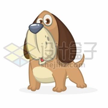 可爱的卡通狗狗巴吉度猎犬png图片免抠矢量素材