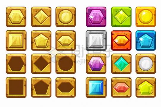 24款彩色卡通游戏宝石圆角按钮png图片素材