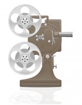 古老的胶卷电影放映机电影院设备免抠矢量图片素材