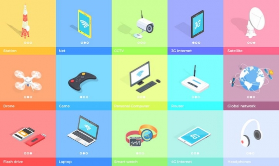 2.5D风格信号发射塔摄像头笔记本无人机等IT数码产品图片免抠矢量素材