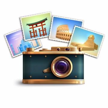 复古风格的单反照相机和拍摄的照片旅游配图png图片免抠矢量素材