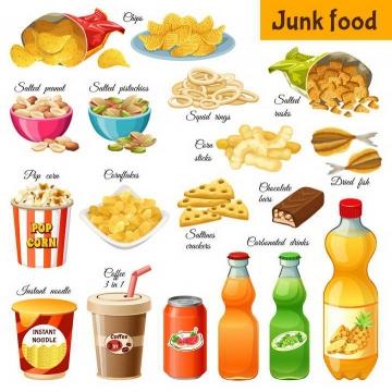 薯片饼干爆米花可乐等各种垃圾食品美食图片免扣素材