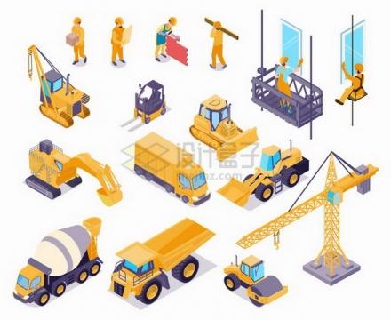 2.5D风格建筑工人挖掘机推土机塔吊压路机水泥车等工程机械png图片免抠矢量素材
