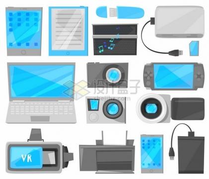 各种卡通手机U盘充电宝笔记本电脑照相机游戏机移动硬盘等IT设备png图片免抠矢量素材