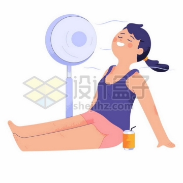 夏天卡通女孩坐在地上吹电风扇手绘插画png图片素材