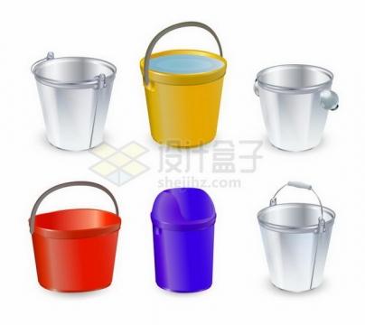 各种逼真的水桶塑料桶png图片免抠矢量素材