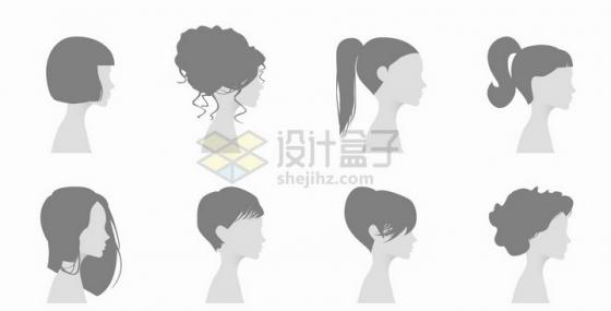 8款男性女性灰色默认头像侧脸png图片免抠矢量素材