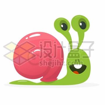 可爱的卡通绿色蜗牛png图片免抠矢量素材