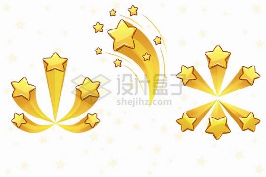 3款金色五角星轨迹游戏星星打分评分工具png图片素材