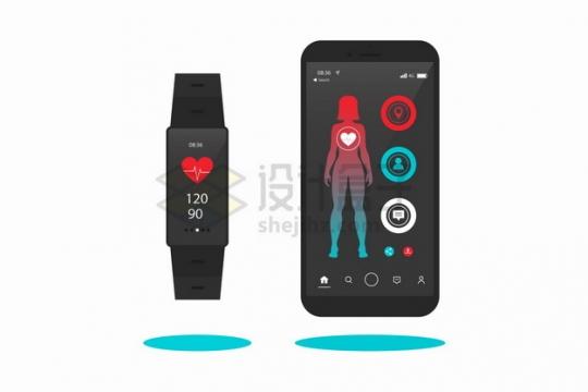 智能手表和手机上显示的女性健身APP界面png图片素材