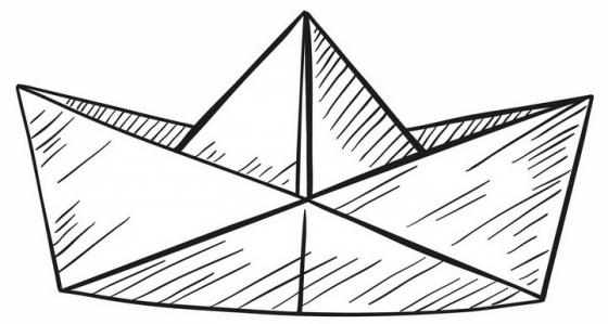 手绘黑色线条折纸船简笔画png图片免抠矢量素材