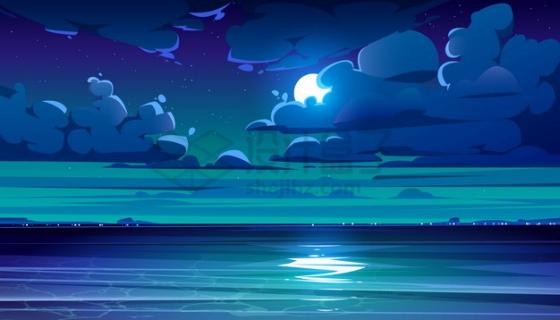 躲在云层中的月亮和大海卡通风景png图片素材