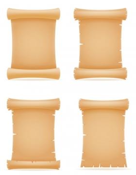 四款展开的复古风格空白卷轴文本框免抠矢量图片素材