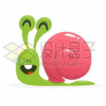 微笑的卡通绿色蜗牛png图片免抠矢量素材