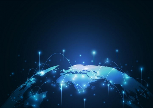 蓝色发光地球和发光点线科技风格背景图