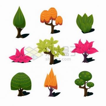 9款卡通大树花丛灌木等游戏道具png图片免抠矢量素材