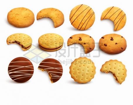 各种曲奇饼干和咬了一口的零食png图片免抠矢量素材