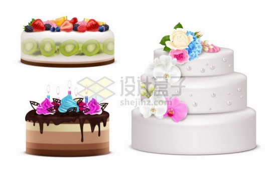逼真的水果奶油蛋糕结婚蛋糕142426png矢量图片素材