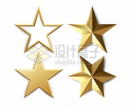 4款金色3D立体五角星六角形图案867660png矢量图片素材