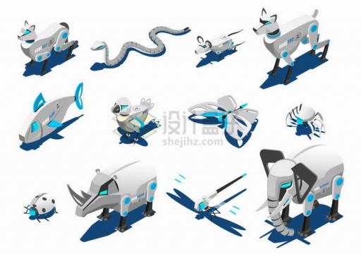 各种科幻风格机器狗机器大象等机器人动物png图片免抠矢量素材