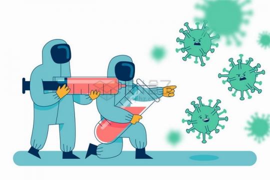 卡通医生拿着大大的针筒对付卡通新型冠状病毒扁平插画png图片免抠矢量素材