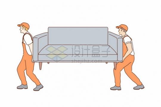两个搬运沙发的搬家公司服务人员手绘插画836056png矢量图片素材