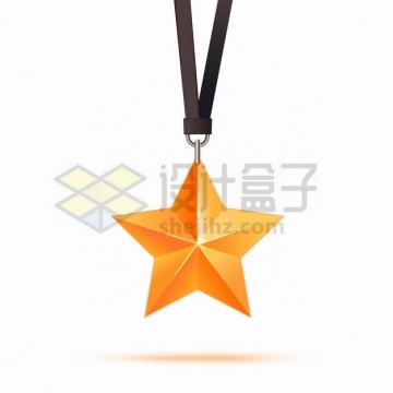 五角星吊坠奖章png图片素材