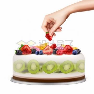 一只手正在摆放水果蛋糕743439png矢量图片素材